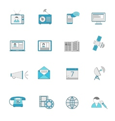 Media icons flat line set vector image vector image