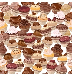 Seamless background made of cakes vector image vector image