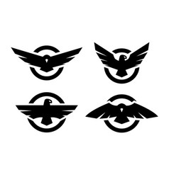 set of logos with an eagle silhouette vector image
