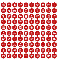 100 team icons hexagon red vector