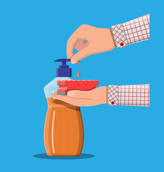 bottle with dispenser and sponge in hands vector image