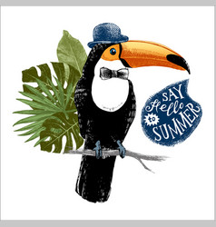 card with hand drawn toucan hipster vector image