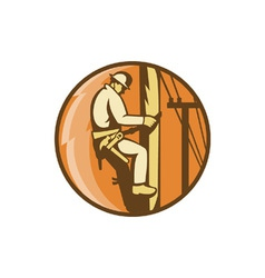 Electrician Climbing Utility Post vector image
