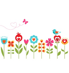 Floral hearts design vector image vector image