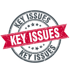key issues round grunge ribbon stamp vector image vector image