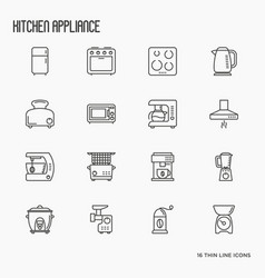 Kitchen appliances thin line icons vector