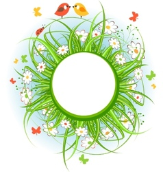 Round frame with grass and birds vector image vector image
