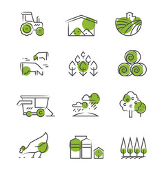 thin line farm icons set vector image