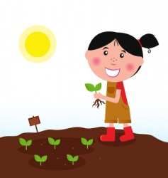gardening girl in red boots vector image vector image