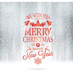 Red silver Merry Christmas typography card vector image vector image