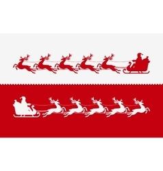 Santa Claus in sleigh pulled by reindeer vector image vector image