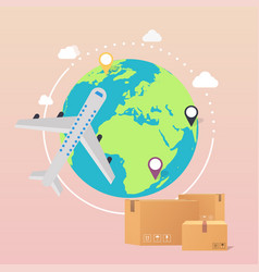 world wide delivery of a world vector image vector image