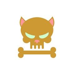 Cat skull with bones Head skeleton of a kitty Logo vector image