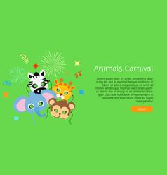 childish animal masks elephant zebra monkey vector image vector image