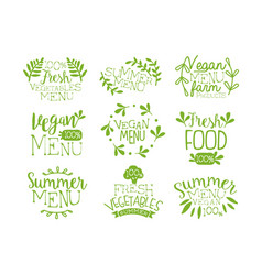 green hand drawn vegetable menu logos set vegan vector image