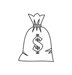 Money bag with dollar sign icon outline style vector image vector image