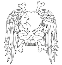 skull and wings tattoo vector image