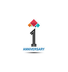 1 anniversary logotype with colorful crown vector