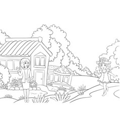 A coloring bookpage a little girl meets her vector