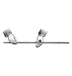 A steel rod being held horizontally vintage vector