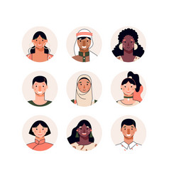 Avatars set multi ethnic people characters vector