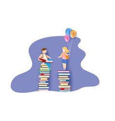 back to school card with boy books and girl vector image