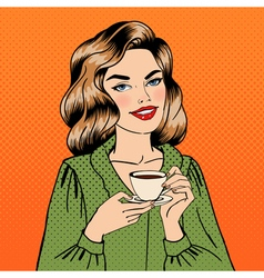 beautiful woman with cup coffee pin up girl vector image