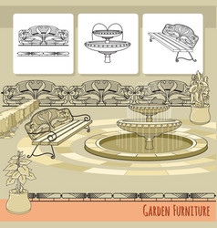 Bench fountain railings and flowers in pot vector