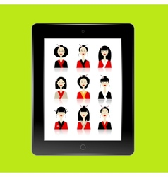 Black abstract tablet pc with asian women avatars vector image