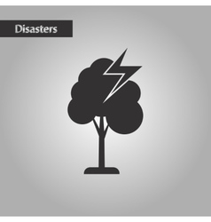 Black and white style lightning tree vector