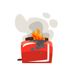 Broken burning toaster damaged home appliance vector