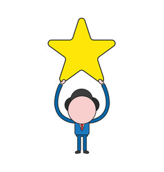 businessman character holding up star color and vector image