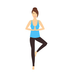 cartoon character woman doing yoga exercises vector image