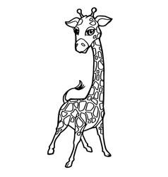 Cartoon cute giraffe coloring page vector