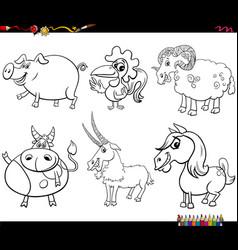 cartoon farm animal characters set coloring book vector image