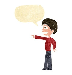 Cartoon grinning boy pointing with speech bubble vector