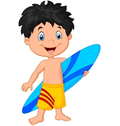 Cartoon little kid holding surfboard vector image