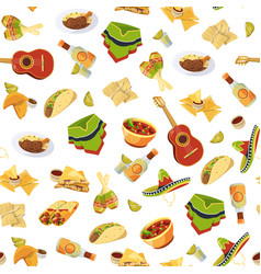 cartoon mexican food pattern or background vector image