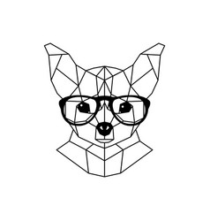 chihuahua dog in glasses and a bow tie geometric vector image
