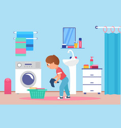 children clean wash clothes on laundry day happy vector image