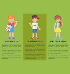 childrens day web banner with playful boy and girl vector image