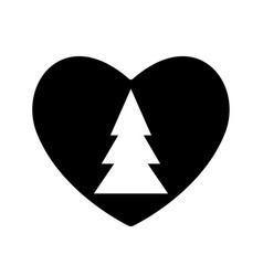 christmas tree icon black in heart valentine vector image