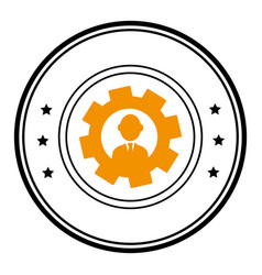 Circular frame with silhouette gear wheel frame vector