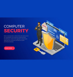 computer internet and personal data security vector image