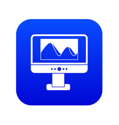 Computer monitor with photo on screen icon digital vector