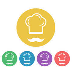 cook colored flat style round icons vector image
