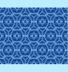 Creative patterned fabric indigo dyed ikat vector