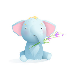 cute baby elephant sitting with flower vector image