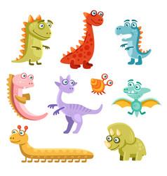 cute cartoon dinosaurs icon set on white vector image