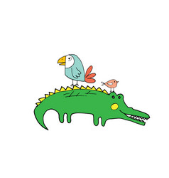 Cute crocodile or alligator and birds cartoon vector